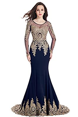 2017 long sleeve mermaid evening dress for women formal Before ordered, please do refer to seller's size chart on left image column or product description, not Amazon's size chart link Long sleeves, beaded appliques, see through tulle top; Floor leng...