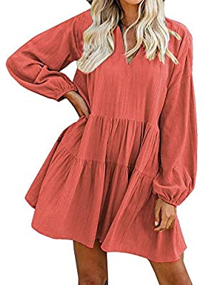 Material: Cotton Blend, No Stretchy. Made from a super lightweight raw fabric. Soft and cozy wear, breathe freely. This is a LOOSE style cute shift Dress. Material: From Autumn To Spring Cotton Babydoll Dress.No Stretchy,Made from a super lightweight...