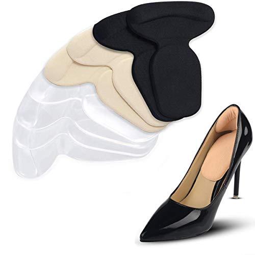 4 Pares T-forma Plantillas Silicona Gel Almohadillas, Mnioky Talonera para Protectores de Talón para Zapatos Planospara Mujeres Como para Hombres ,almohadillas antideslizantes para zapatos (color 1)