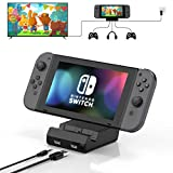 Vivefox Nintendo Switch Dock - Portable Switch Charging Dock TV Playstand Switch Docking Station Replacement for Nintendo Switch with 4K HDMI USB 3.0 Port and 3.5 Headphone Jack