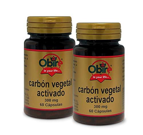 Obire   Carbón Vegetal Activado   300 mg   Para Aliviar Trastornos Gatrointestinales, Intoxicación   Reduce el Gas Intestinal, la Hinchazón Abdominal   60 Cápsulas (Pack 2 unid.)