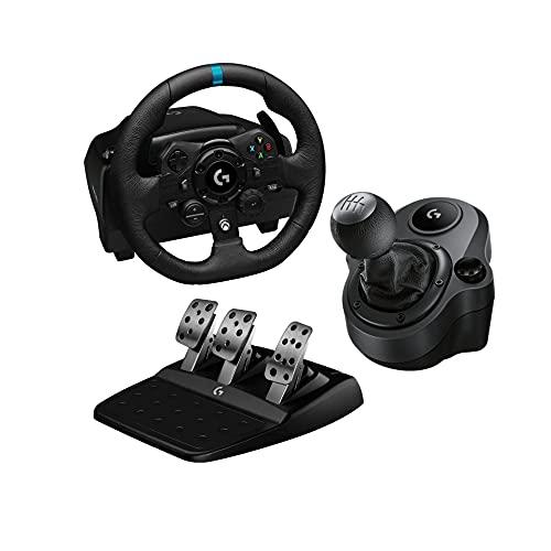 Logitech G G923 Volante y Pedales de Carrera, TRUEFORCE, Embrague Dual, para Xbox y PC y Palanca de...