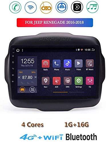 Android 8.1 GPS Navigazione Stereo Autoradio, 9' Touch Screen Video Player, per Jeep Renegade 2016-2018, Mirror Link Controllo Volante USB DAB SD MP5 Bluetooth Hands-free Calls SWC,4G+WIFI1G+16G
