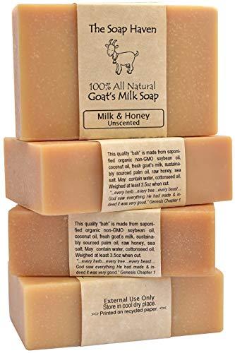 4 Goat Milk Soap Bars with Honey - Handmade in...