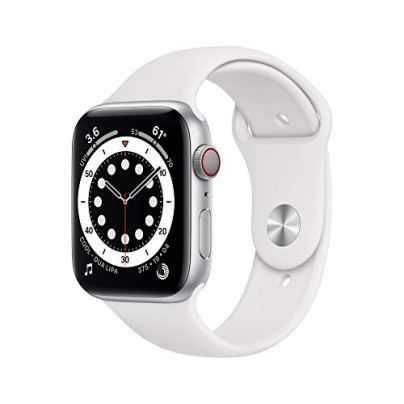 New AppleWatch Series 6 (GPS + Cellular, 44mm) - Silver Aluminum Case with White Sport Band