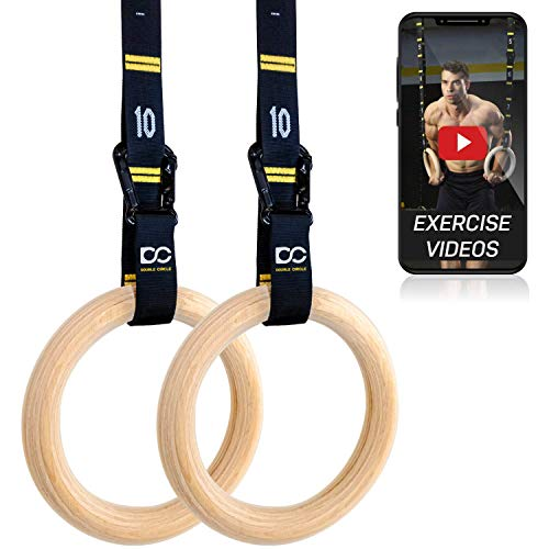 Double Circle Wood Gymnastic Rings, Numbered Straps and Exercise Videos Guide for CrossFit, Bodyweight Training,...