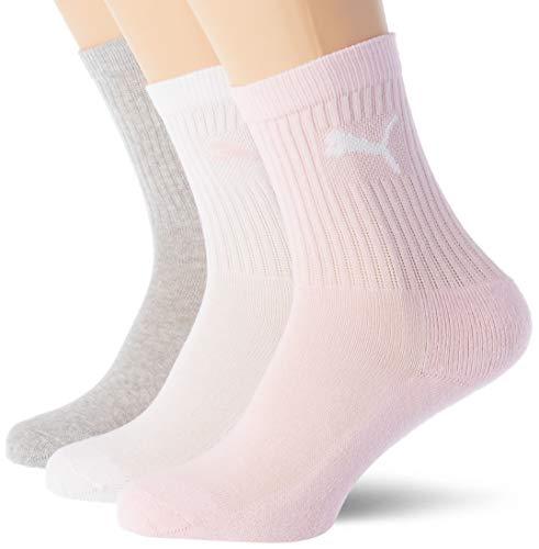 PUMA Quarter Plain Socks (3 Pack) Calze, Acqua di Rose, 27/30 Unisex-Bambini