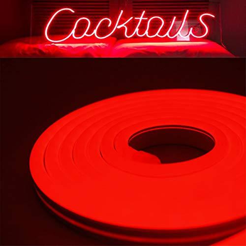 YXH DC12V Luce al neon a LED in silicone, impermeabile per decorazioni interne ed esterne Insegna fai-da-te, 5 metri rosso