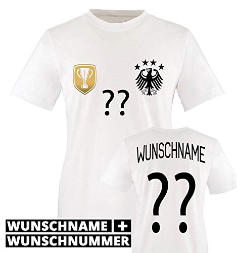 Trikot - Deluxe 2016 - DE - WUNSCHDRUCK - Kinder T-Shirt - Weiss/Schwarz-Gold Gr. 134-146