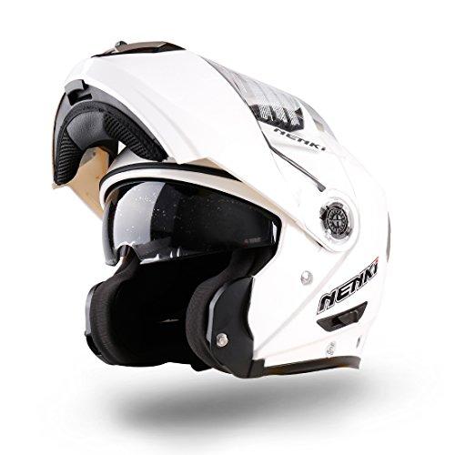 NENKI NK-860 klapphelm für Motorrad Moped Roller ( ( Mittel,Weiß)