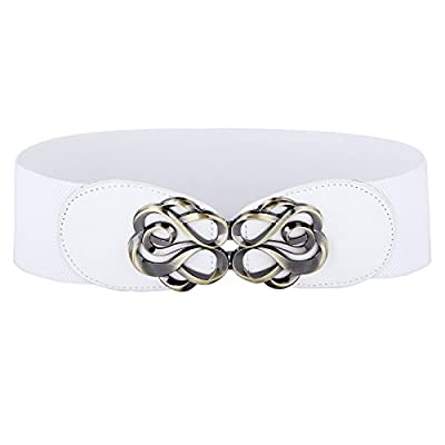Attention: because of lighting effects, the clasp is not silver color, it is more of a antique brass or gold color High stretchy; Metal buckle fastening, easy to wear and remove Shapes your waist well, Suitable for your formal or casual wear in any s...