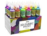 Pintura Textil 3D Nazca  Set 24 Colores (4 Nen UV) x 30ml  Pintura Permanente Perfecta para Pintar con Relieve sobre Tela, Ropa, Camisetas, Cermica, Madera, Piedra o Cualquier Superficie