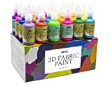 Pintura Textil 3D Nazca – Set 24 Colores (4 Neón UV) x 30ml – Pintura Permanente Perfecta para...