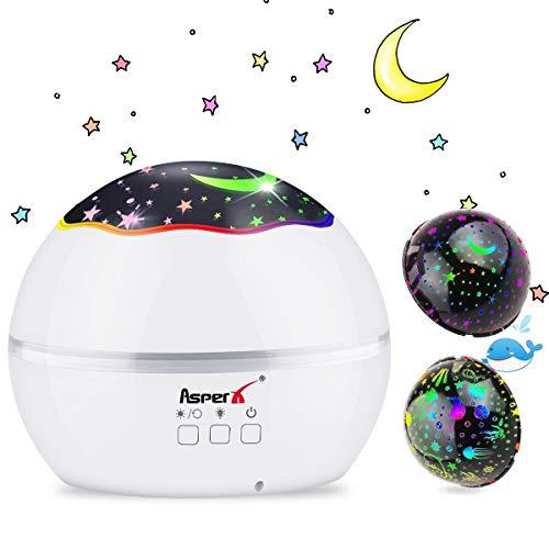 Luci notturne bambini da presa, AsperX 2 in 1 Lampada Proiettore Oceano & Stella Proiettore Lampada,...