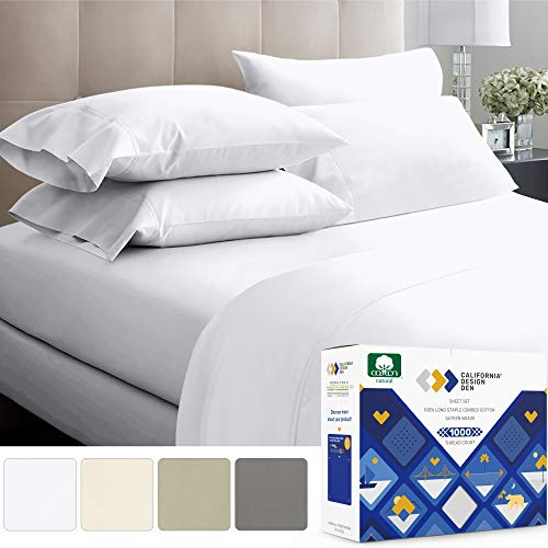 1000-Thread-Count 100% Pure Cotton Bed Sheets on Amazon 4 Pc Queen Size White Sheet Set - Single Ply Extra Long Staple Combed Cotton Yarns, Best Luxury Sateen Weave, Fits Mattress 16'' Deep Pocket