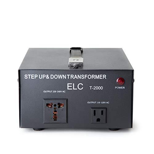 ELC T-2000 2000-Watt Voltage Converter Transformer - Step Up/Down - 110V/220V - Circuit Breaker Protection [3-Years Warranty]