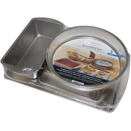 Mainstays, Bakeware Set, 5 pieces, Made in USA, Heats evenly. Include 2 round cake pans 9in dia, 1 square pan 7.6in x 7.6in, 1 loaf pan8.4 in x 4.4in, 1 cookie pan 13.2in x 9.2in