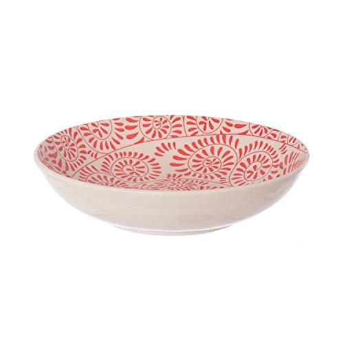 Piatto fondo Capri Girandola Rossa in stoneware, da 20,3 cm Bianco con decori rossi