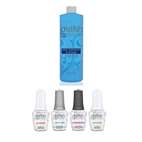 Gelish Fantastic Four Gel Polish Essentials Kit + Gelish Nail Surface Cleanser includes Foundation, pH Bond, Top It Off, Cuticle Oil