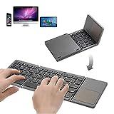 Clavier Bluetooth pliable avec clavier Bluetooth rechargeable par USB et pavé tactile Mini clavier pour Windows Android iOS Windows Tablette Smartphone ordinateurs portables