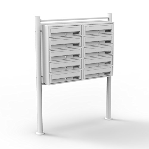 10er Briefkastenanlage Weiß 2x5 Fächer Standbriefkasten Postfach Briefkasten Postkasten