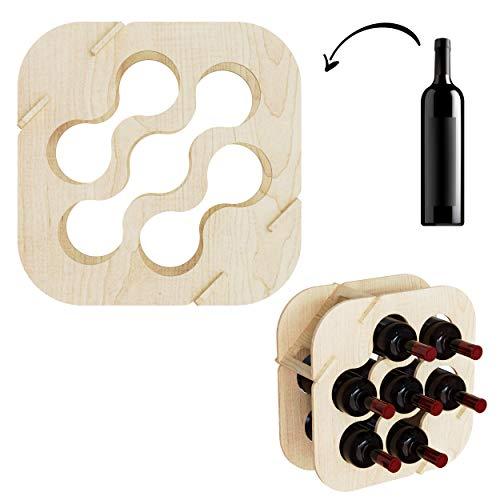Cemab Waves, Cantinetta in Legno,scaffale portabottiglie da Tavolo, per 7 Bottiglie di Vino, Design Moderno per casa, Bar e Locali (Betulla Naturale)