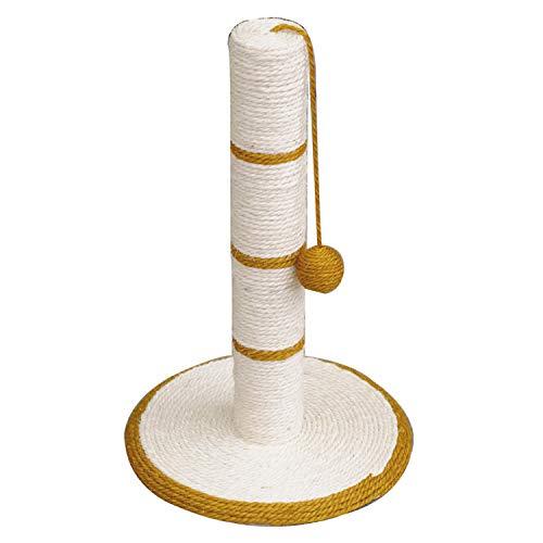 Rascador gatos poste blanco/dorado con bola – 30 x 30 x 46 cm