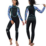 CtriLady Wetsuit Women Neoprene One Piece Full Diving Suits Long Sleeve Swimsuit with Back Zipper UV Protection Full Body Swimwear for Swimming, Diving, Surfing and Snorkeling(Black, Medium)