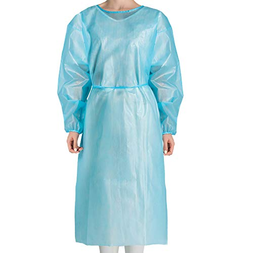JMU Disposable Isolation Gowns Non Woven,Disposable Protective Clothing 10Pcs Elastic Cuffs Isolation Gowns Blue for Women Men XL Size