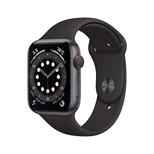 最新 Apple Watch Series 6(GPS + Cellularモデル)- 44mmスペースグレイアルミニウムケースとブラックスポ...