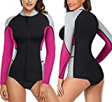 CtriLady Wetsuit Top, Women's Wetsuit Long Sleeve Jacket Neoprene 1.5mm High-Necked Wetsuits with Front Zipper for Swimming, Diving, Surfing, Boating, Sauna, Fitness and Sweating(Rose, L)