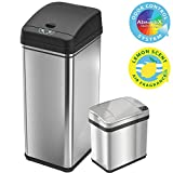 iTouchless 13 Gallon and 2.5 Gallon Sensor Trash Cans (Set of 2), Stainless Steel Bins for Kitchen and Bathroom, Odor Control System