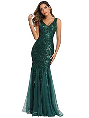 【Special Design】:Double V-Neck, Sleeveless, Embroidered lace, Bodycon Sheath Design, Floor Length Maxi Dress. 【Flexible & Elegant Fabric】:Our unique Sequin fabric is elegant and feminine,and is elastic to fit a different range of figure. 【Easy Match】...
