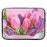 Tulipanes Rosados y morados Bolsos para computadora portátil compatibles con Tableta Netbook de 15 ″, maletín con Funda de Pringting, Funda para Bolso de Transporte
