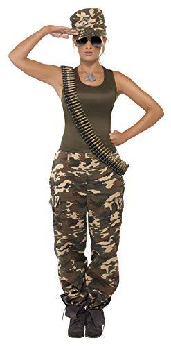 Smiffy's Smiffys-35457M Disfraz de Camuflaje Deluxe, Color Caqui, para Mujer, Incluye Camiseta y pantalo, Verde, M-EU Tamaño 40-42 35457M
