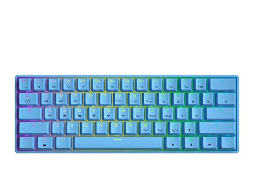 GK61 Mechanische Gaming-Tastatur – 61 Tasten RGB beleuchtete LED-Hintergrundbeleuchtung, PC/Mac Gamer (Gateron Optical Black, Blau)