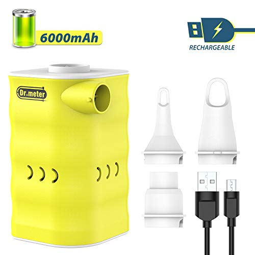 Dr.meter Rechargeable Air Pump, 6000mah Powerful Electric Air Quick-Fill Pump Inflator/Deflator Air Mattress Portable Pump with 3-Nozzle