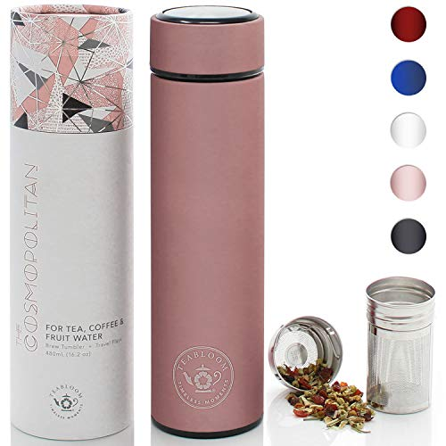 Teabloom All-Purpose Beverage Tumbler | OPRAHs Favorite | 16oz/480ml - Brushed Metal Insulated Water Bottle/Tea Flask/Cold Brew Coffee Mug - Extra-Fine Two-Way Infuser Travel Bottle - Rose Gold