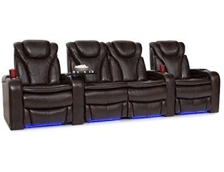 Barcalounger Solaris Leather Power Recline Home Theater Seating Chairs (Row of 4 w/ Center Loveseat, Brown)