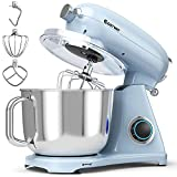 COSTWAY 7 Quart Stand Mixer, 800W 6-Speed Electric Tilt-Head Food Mixer, with Dough Hook, Whisk & Beater, Pulse, Power Hub for Attachments (Mint Blue)