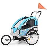 Festnight Cochecito y Remolque de Bicicleta para Niños 2-en-1 Carga Máx 40kg, Adecuado para 1 o 2 Niños, Gris y Azul