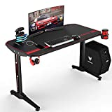 VIT 47 Inch Ergonomic Gaming Desk, T-Shaped Office PC Computer Desk with Full Desk Mouse Pad, Gamer Tables Pro with USB Gaming Handle Rack, Stand Cup Holder&Headphone Hook (Carbon Fiber Black)