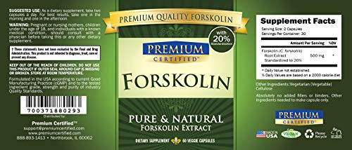 100% Pure Forskolin Premium Extract - 20% Coleus Forskohlii - Natural Weight Loss, Fat Burner and Belly Buster - 360 Veg Capsules (6 Months Supply) 2