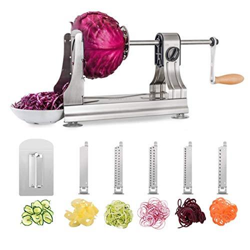 WellToBe CS-668 Spiralizzatore, 6 Blade Spiralizer Verdure Affettatrice a Spirale in Acciaio Inossidabile, Tagliaverdure a Spirale per Pasta di Veggie e Zucchini Spaghetti