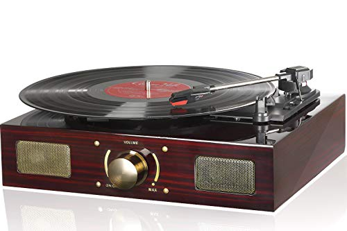 LuguLake Vinyl Record Player, Turntable with Stereo 3-Speed, Record Player, and RCA Output, Vintage Phonograph with Retro Wooden Finish (Piano Baking Varnish)