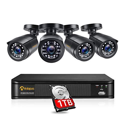 Anlapus 1080P DVR Kit Videosorveglianza 8 Canali H.265+ Videoregistrator con 4* Bullet Camera Esterno, 1TB HDD, Visione Notturna, Accesso Remoto
