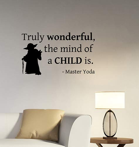 Truly Wonderful The Mind of A Child is Inspirational Quote Wall Sticker Motivational Saying Vinyl Decal Movie Art Decorations for Home Room Bedroom Office Decor sws20