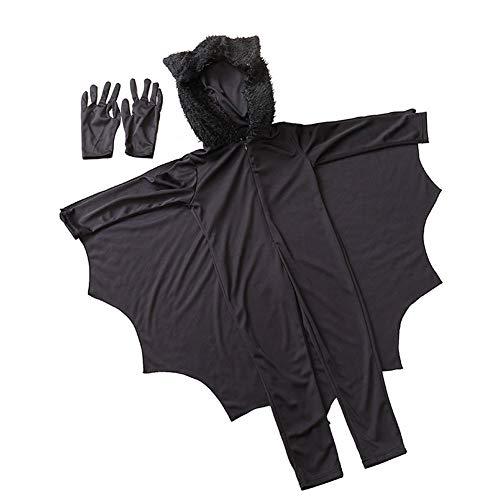 Abito Bat Unisex Vampire Bat Animal Costume di Halloween con i Guanti per i Bambini del Partito...