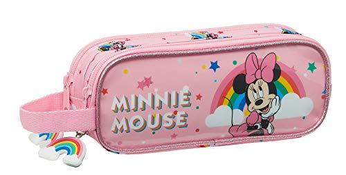 SAFTA Astuccio doppio di Minnie Mouse Rainbow, 210 x 60 x 80 mm