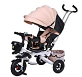 US Fast Shipmet 5-in-1 Foldable Baby Tricycle,Baby Tricycle Stroller Toddler Bike with Push Handle&Foldable Sunshade,Storage Bag,Shock Absorption Design,Boy Girl Toy (Khaki)
